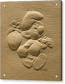 Relief Smurf On Paper  Acrylic Print
