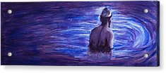 Acrylic Print featuring the painting Religious Nude Male Dipping In Mikveh Baptism In Swirling Water Pool In Purple Blue  by M Zimmerman