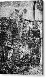 Remains Of An Old Historic House With Multiple Fireplaces In The Wall Of The Old Town Aberdeen Scotl Acrylic Print by Joe Fox