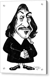 Rene Descartes, Caricature Acrylic Print by Gary Brown
