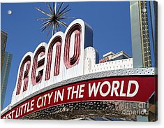 Reno . The Biggest Little City In The World Acrylic Print by Wingsdomain Art and Photography