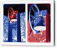 Replica Of Liberty Bell - Americana Rwb Diptych - Inverted Acrylic Print by Steve Ohlsen