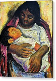 Reproduction Of Diego Rivera's- Mother And Child Acrylic Print by Duwayne Washington