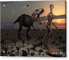 Reptoids Tame Dinosaurs Using Telepathy Acrylic Print by Mark Stevenson