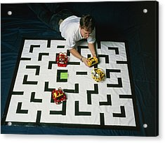 Researcher Testing Lego Robots Playing Pacman Acrylic Print by Volker Steger