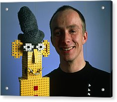 Researcher With His Happy Emotional Lego Robot Acrylic Print by Volker Steger