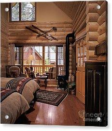 Resort Log Cabin Interior Acrylic Print by Robert Pisano