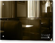 Restaurant Booth With Streaming Sunlight In Sepia Acrylic Print
