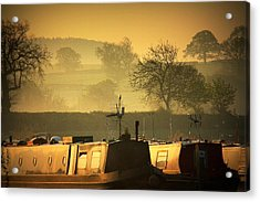 Resting Narrowboats Acrylic Print by Linsey Williams