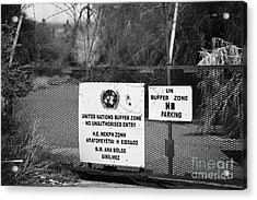 restricted area of the UN buffer zone in the green line dividing north and south cyprus in nicosia Acrylic Print by Joe Fox