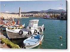 Rethymnon Harbour In Crete  Acrylic Print by Paul Cowan