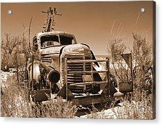 Retired Sepia Acrylic Print by Bob and Nancy Kendrick