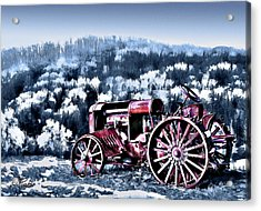 Retired Tractor Acrylic Print by Suni Roveto