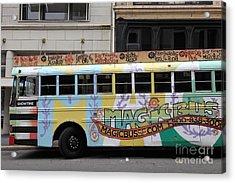 Retro 60s San Francisco Haight Ashbury Magic Bus - 5d17924 Acrylic Print by Wingsdomain Art and Photography