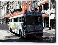 Retro 60s San Francisco Haight Ashbury Magic Bus - 5d18009 Acrylic Print by Wingsdomain Art and Photography