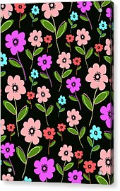 Retro Florals Acrylic Print by Louisa Knight