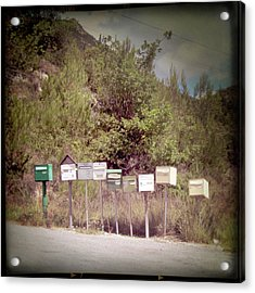 Retro Mailboxes Acrylic Print by Marcel ter Bekke
