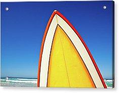 Retro Surf Board At Beach, Australia Acrylic Print by John White Photos