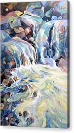 Acrylic Print featuring the painting Rhapsody In Blues And Greens by Rae Andrews