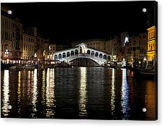 Rialto Bridge At Night Acrylic Print