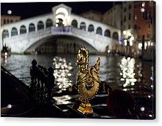 Rialto Bridge From Gondola Acrylic Print