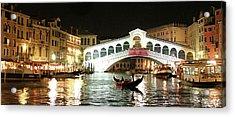 Rialto Bridge Night Scene Acrylic Print