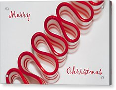 Ribbon Candy Peppermint Merry Christmas Acrylic Print by Kathy Clark