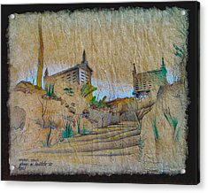 Rice Storage In Muros 1982 Acrylic Print by Glenn Bautista