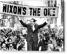 Richard Nixon, Delivering His The V Acrylic Print by Everett
