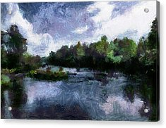 Acrylic Print featuring the painting Rideau River View From A Bridge by Mario Carini