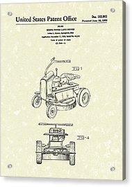 Riding Power Lawn Mower Patent Art  Acrylic Print