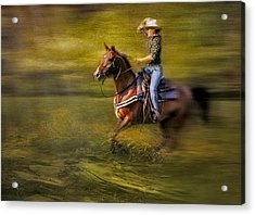 Riding Thru The Meadow Acrylic Print by Susan Candelario