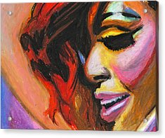 Rihanna Smile Acrylic Print by Siobhan Bevans