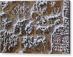 Rime-covered Brick And Stone Wall Acrylic Print by Mark Taylor