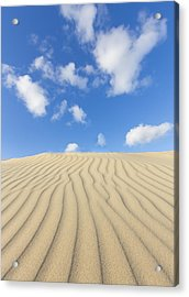 Rippled Sand Dune And Blue Sky With Clouds Acrylic Print by Rob Kints