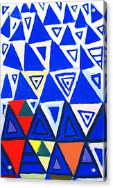 Rising Blue Triangles Acrylic Print by Kazuya Akimoto