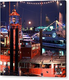 Rising Moon Over Lightship Acrylic Print by Serge Fourletoff