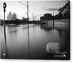 River In Street Acrylic Print by Odon Czintos