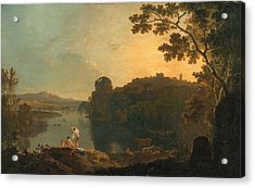 River Scene- Bathers And Cattle Acrylic Print by Richard Wilson