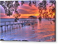 River Sunset Acrylic Print by Lisa Goddard