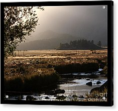River Sunset With Border Acrylic Print by Marta Alfred
