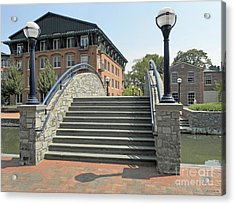 River Walk Bridge In Frederick Maryland Acrylic Print by J Jaiam