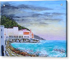 Riviera Ligure Acrylic Print by Larry Cirigliano