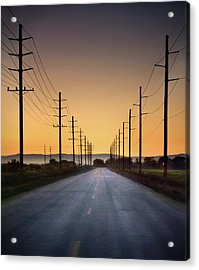 Road And Power Lines At Sunset Acrylic Print by Www.jodymillerphoto.com