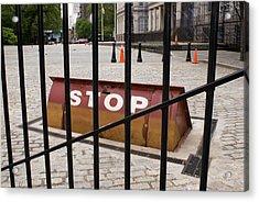 Road Blocker At New York City Hall. Acrylic Print