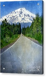 Road Leading To Snow Covered Mount Shasta Acrylic Print by Jill Battaglia