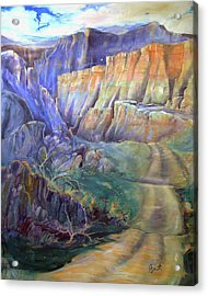Acrylic Print featuring the painting Road To Rainbow Gulch by Gertrude Palmer