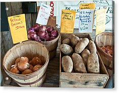 Roadside Produce Stand Onions Potatoes Shallots Acrylic Print by Denise Lett