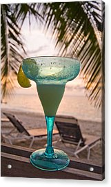 Roatans West Bay, Tropical Drink Acrylic Print by Richard Nowitz