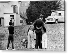 Robert Kennedy Is Comforted By Two Acrylic Print by Everett